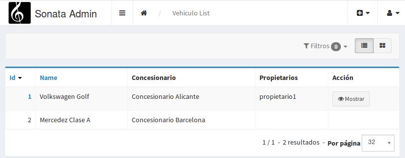 Listado vehículos Sonata